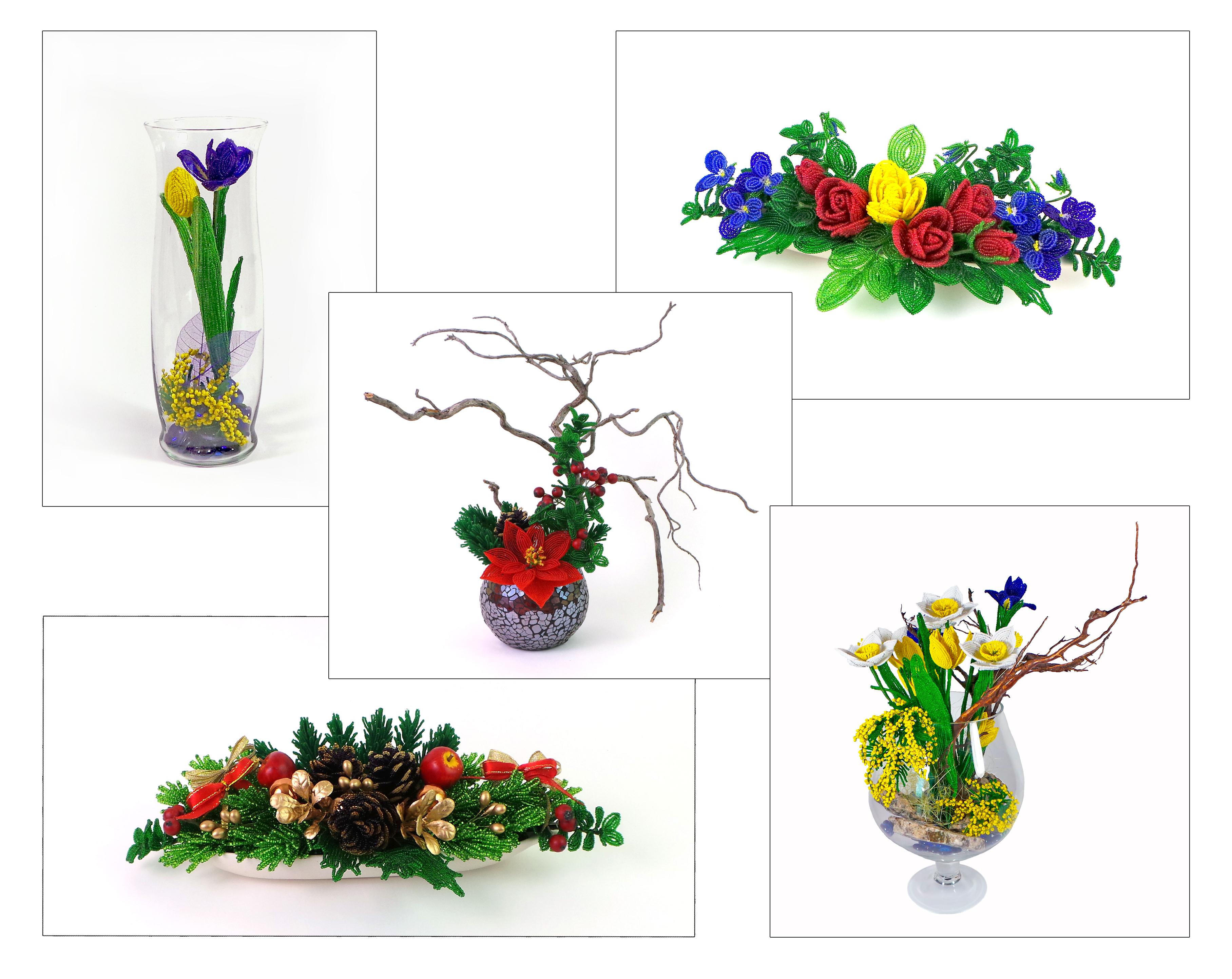 бисерные цветы, композиции