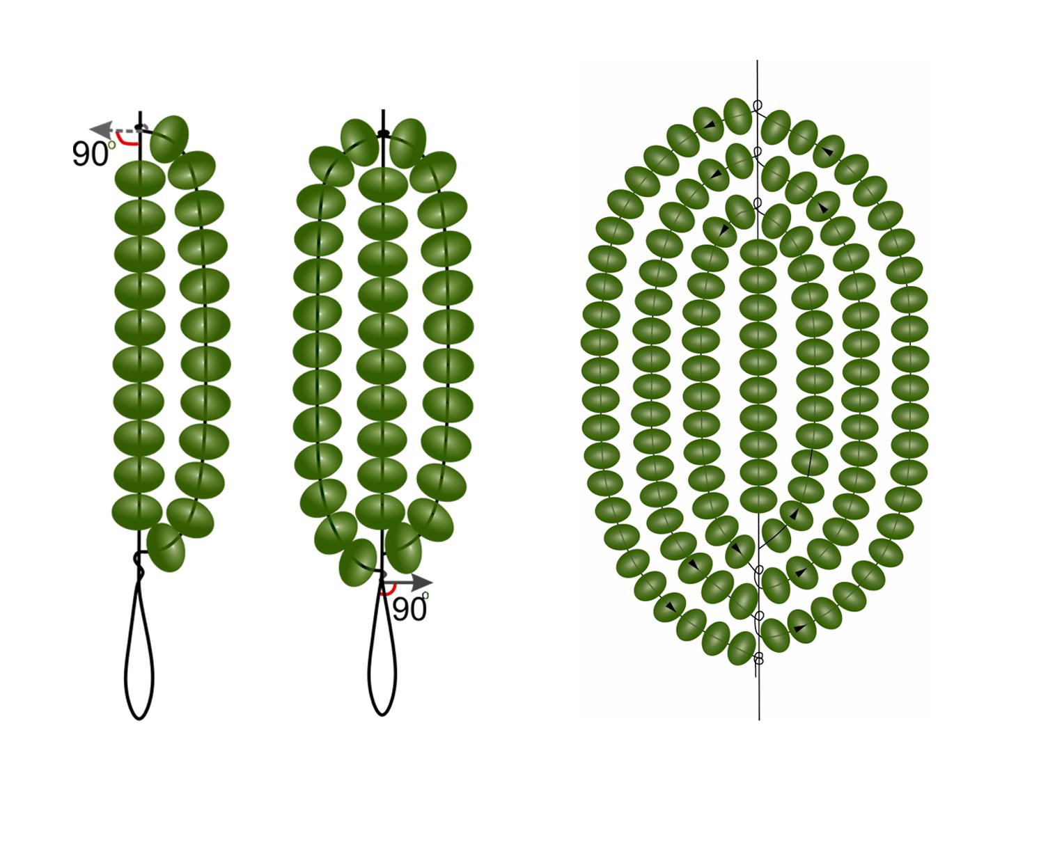 Схема круглого листика из бисера
