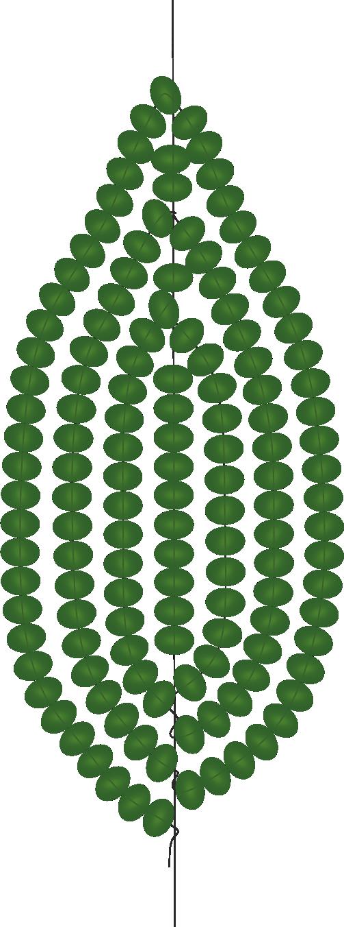 заостренный листик из бисера